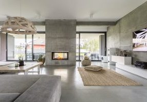 Spacious,Villa,Interior,With,Cement,Wall,Effect,,Fireplace,And,Tv