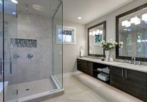 Spacious,Bathroom,In,Gray,Tones,With,Heated,Floors,,Walk-in,Shower,